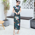 cheongsam Summer 2020 M L XL XXL XXXL Decor Short sleeve long cheongsam Retro High slit daily double-breasted  Decor 25-35 years old Piping Yijiahong polyester fiber Polyester 100% Pure e-commerce (online only)