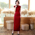 cheongsam Spring 2020 M L XL XXL XXXL red Short sleeve long cheongsam Retro High slit daily Oblique lapel Solid color 18-25 years old Piping Yijiahong polyester fiber Polyester 100% Pure e-commerce (online only)
