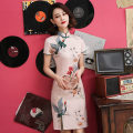 cheongsam Summer of 2019 S M L XL XXL XXXL Short sleeve Short cheongsam Retro Low slit daily Oblique lapel Decor 25-35 years old Piping Yijiahong polyester fiber Polyester 100% Pure e-commerce (online only)