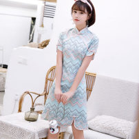 cheongsam Spring 2020 S M L XL XXL XXXL Striped blue Short sleeve Short cheongsam Retro Low slit daily Oblique lapel Decor 18-25 years old Piping Yijiahong polyester fiber Polyester 100% Pure e-commerce (online only)