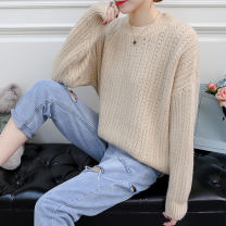 sweater Autumn of 2018 Average size Apricot royal blue light pink white Long sleeves Socket singleton  Regular other 95% and above Crew neck Regular commute Solid color Straight cylinder Coarse wool Lotus Butterfly LDL10607 Other 100%