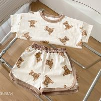 suit Other / other Ivory white (no return or exchange) S(90cm),M(100cm),L(110cm),XL(120cm),S(60-70cm),M(70-80cm) neutral summer Korean version Short sleeve + pants 2 pieces routine No model Socket Cartoon animation cotton Other 100%