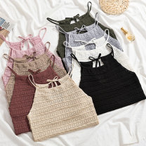 Vest sling Summer of 2019 Apricot, khaki, dark green, gray, pink, white, black, brick red Average size singleton  have cash less than that is registered in the accounts Straight cylinder Versatile other Solid color