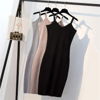 Dress Summer of 2019 Black, grey, apricot Average size Mid length dress singleton  Sleeveless commute V-neck High waist Solid color Socket One pace skirt camisole Korean version Asymmetry