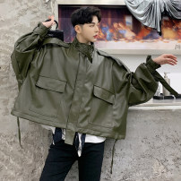 Jacket those days Youth fashion black Average size routine Extra wide Other leisure spring 1300MN776 Polyvinyl chloride (PVC) 100% Long sleeves Wear out stand collar tide youth short Zipper placket 2019 Cloth hem No process Closing sleeve Solid color PU leather Epaulet Mingji thread patch bag other