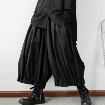 Casual pants those days Youth fashion black S,M,L,XL,2XL routine Capris Other leisure easy No bullet 750MK1825 Four seasons youth tide 2020 middle-waisted horn Cotton 100% Haren pants Hem at hem Solid color other cotton Domestic non famous brands