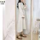 Dress Autumn of 2019 Milky white, brown S,M,L,XL Mid length dress singleton  Long sleeves Sweet Crew neck High waist Solid color zipper A-line skirt pagoda sleeve Others 18-24 years old Type A Other / other Bow, ruffle, tuck, embroidery, fold, Auricularia auricula, stitching, lace princess
