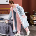 Nightgown / bathrobe female 160(M) 165(L) 170(XL) 175(XXL) thickening Sweet Polyester (polyester) winter Long (below Mid Calf) heart-shaped youth Lotus leaf edge Autumn of 2019 Polyester 100% Pure e-commerce (online only)