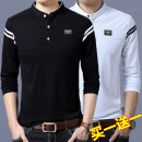 T-shirt Fashion City routine M,L,XL,2XL,3XL,4XL Others Long sleeves stand collar standard daily Four seasons HXS88198826 Cotton 95% polyurethane elastic fiber (spandex) 5% youth routine Basic public Cotton wool stripe Button decoration Cotton ammonia
