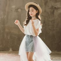 T-shirt white Other / other 110cm,120cm,130cm,140cm,150cm,160cm female summer Short sleeve Crew neck Korean version There are models in the real shooting nothing cotton other Cotton 90% other 10% NN Class B other Chinese Mainland