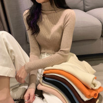 Wool knitwear Autumn 2020 Average size Coffee, off white, pink, gray, classic black, oat, gentle apricot, bright orange, haze blue, cream Long sleeves singleton  Socket other 30% and below Regular routine commute Self cultivation High collar routine Solid color Socket Korean version 18-24 years old
