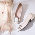 Low top shoes 35,36,37,38,39,40 In the same boat Off white, red, black Round head PU Thick heel Middle heel (3-5cm) Shallow mouth PU Summer 2020 Trochanter Korean version Adhesive shoes Youth (18-40 years old) Solid color rubber Single shoes Shallow mouth, buckle, thick heel, metal decoration cloth