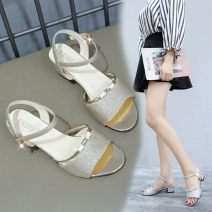 Sandals 35,36,37,38,39 Silver, gold PU In the same boat Barefoot Thick heel Middle heel (3-5cm) Spring 2020 Flat buckle Korean version Solid color Adhesive shoes Youth (18-40 years old) rubber daily Back space Thick heel, Roman style Low Gang Hollow PU PU Roman shoes Shaving