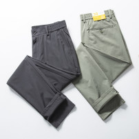 Casual pants Huasachi Fashion City twenty-one - 0102 grey , twenty-one - 0102 light green 30,31,32,33,34,35,36,38,40 thin trousers Other leisure Self cultivation Micro bomb summer youth tide 2021 middle-waisted Straight cylinder Sports pants Pocket decoration Solid color nylon