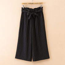 Women's large Summer of 2019 Chinese stripe Capris black Large XL Large 2XL large 3XL large 4XL trousers singleton  commute easy ultrathin stripe Korean version Three dimensional cutting AS2l0 Janujiao 30-34 years old Cuprammonium fiber (copper ammonia wire) 100% Pure e-commerce (online only)