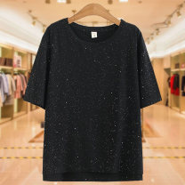 Middle aged and old women's wear Summer 2020 black XL 2XL 3XL 4XL leisure time T-shirt easy singleton  Socket thin Crew neck routine routine YN1660 Janujiao cotton Cotton 85% polyurethane elastic fiber (spandex) 15% 81% (inclusive) - 90% (inclusive) Pure e-commerce (online only) Short sleeve