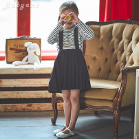 T-shirt Beige Jeux d'enfants 3A,4A/100,5A/110,6A/120,8A,10A,12A female spring and autumn Long sleeves Crew neck Europe and America No model nothing Pure cotton (100% cotton content) stripe Cotton 100% Class B 2, 3, 4, 5, 6, 7, 8, 9, 10, 11, 12, 13, 14 years old