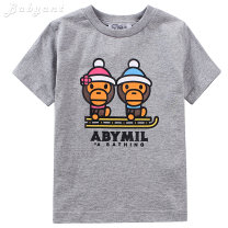 T-shirt summer Europe and America No model in real shooting nothing Cotton 100% Class B male Jeux d'enfants cotton Cartoon animation Short sleeve Crew neck Gray, black, white