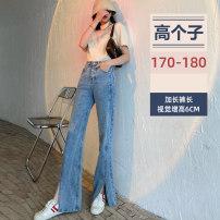 Jeans Summer 2021 Light blue plus pants, light blue super pants XS,S,M,L,XL,2XL trousers Natural waist Pencil pants Thin money 18-24 years old Scratch, other, metal decoration, multi pocket, ground white, zipper, button, wash Cotton elastic denim Dark color 91% (inclusive) - 95% (inclusive)