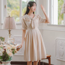 Dress Summer 2021 Apricot, green S,M,L,XL Mid length dress singleton  Short sleeve commute other High waist Solid color Single breasted A-line skirt pagoda sleeve Others 18-24 years old Type A lady Bow, ruffle, lace MN6457 71% (inclusive) - 80% (inclusive) other cotton