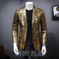 man 's suit Fashion City golden Others routine 4XL 5XL M L XL 2XL 3XL Self cultivation Double breasted Other leisure Back middle slit youth Long sleeves autumn routine Exquisite Korean style Casual clothes Flat lapel Round hem Plants and flowers Regular collar (collar width 7-9cm) Velveteen 2018