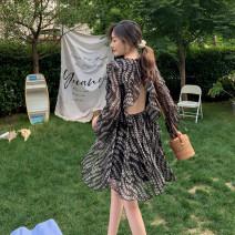 Dress Summer 2020 Black flowers S,M,L Short skirt singleton  Long sleeves commute V-neck High waist Socket A-line skirt Others Retro backless