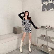 Dress Autumn 2020 Zebra skirt - free stickers, black cardigan S,M,L Short skirt singleton  Sleeveless commute V-neck High waist One pace skirt routine camisole 25-29 years old Type A Splicing