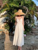 Dress Spring 2021 white S,M,L,XL Mid length dress singleton  Sleeveless commute V-neck High waist Solid color zipper Ruffle Skirt camisole Type A Retro