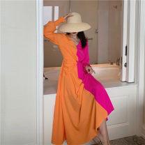 Dress Winter 2020 S,M,L,XL longuette singleton  Long sleeves commute V-neck High waist zipper Big swing pagoda sleeve Type A zipper