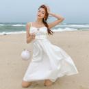 Dress Winter 2020 White - send cream S,M,L,XL Middle-skirt singleton  Sleeveless Sweet V-neck Solid color zipper A-line skirt Type A zipper
