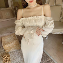 Dress Autumn 2020 Apricot long sleeve S,M,L longuette singleton  Sleeveless commute One word collar Solid color Socket A-line skirt camisole 31% (inclusive) - 50% (inclusive) polyester fiber