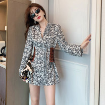 Dress Autumn 2020 Picture color - Safety pants for free S,M,L,XL Short skirt singleton  Long sleeves commute V-neck Decor Type A Retro printing