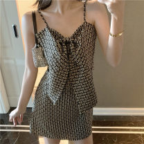 Dress Autumn 2020 Black gold - free cream S,M,L Short skirt singleton  Sleeveless commute V-neck High waist lattice Socket A-line skirt camisole zipper polyester fiber