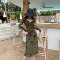 Dress Autumn 2020 Dark Jade Green S,M,L longuette singleton  Long sleeves commute V-neck High waist Decor Socket One pace skirt routine 25-29 years old Type H Other / other printing polyester fiber