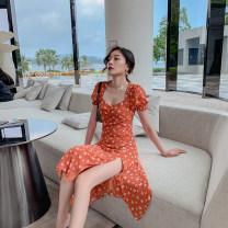 Dress Autumn 2020 Picture color S,M,L,XL Mid length dress singleton  Short sleeve commute square neck High waist Decor zipper Petal sleeve printing