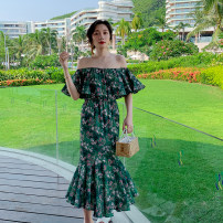 Dress Autumn 2020 Green - send milk paste S,M,L longuette singleton  Sleeveless commute One word collar High waist Decor other Ruffle Skirt Others 25-29 years old Type H Retro printing 31% (inclusive) - 50% (inclusive) Chiffon polyester fiber