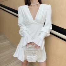 Dress Autumn 2020 White - send cream S,M,L Middle-skirt singleton  Long sleeves commute V-neck High waist Solid color zipper Ruffle Skirt Lotus leaf sleeve Others Type A
