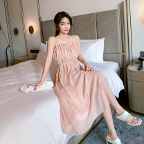 Dress Spring 2021 Picture color S,M,L,XL Mid length dress singleton  Sleeveless Sweet High waist A-line skirt camisole Type A Other / other other polyester fiber