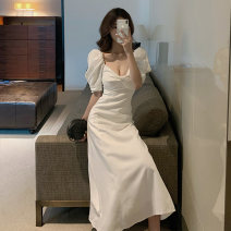 Dress Summer 2020 white S,M,L,XL Mid length dress singleton  Short sleeve commute V-neck High waist Solid color Socket A-line skirt puff sleeve Others 25-29 years old Type A Retro 31% (inclusive) - 50% (inclusive) Chiffon polyester fiber