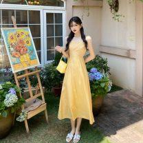Dress Summer 2020 Yellow, green S,M,L,XL Mid length dress singleton  Sleeveless commute V-neck High waist Solid color zipper One pace skirt camisole Retro zipper