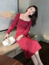 Dress Autumn 2020 claret S,M,L,XL Mid length dress singleton  Long sleeves commute square neck Solid color zipper One pace skirt Petal sleeve Type A zipper