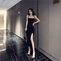 Dress Summer of 2019 black S,M,L Middle-skirt singleton  Sleeveless street High waist Solid color Socket One pace skirt 18-24 years old Other / other 31% (inclusive) - 50% (inclusive)