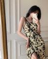 Women's large Spring 2021 Caragana korshinskii M [suggested 90-100 kg], l [suggested 100-120 kg], XL [suggested 120-140 kg], 2XL [suggested 140-160 kg], 3XL [suggested 160-180 kg], 4XL [suggested 180-200 kg] Dress singleton  commute Socket Sleeveless Decor Korean version stand collar routine cotton