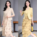 Dress Spring 2021 S,M,L,XL,2XL longuette Two piece set Long sleeves Sweet tailored collar High waist Solid color A button Cake skirt routine Others 25-29 years old Type A Tagkita / she and others More than 95% Chiffon polyester fiber Ruili