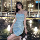 Dress Spring 2021 Galaxy blue S,M,L Short skirt singleton  Sleeveless commute One word collar High waist Solid color zipper Princess Dress routine camisole 18-24 years old Type X Korean version 30% and below