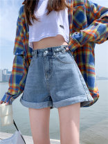 Jeans Summer 2021 Blue, greyish black S,M,L,XL,2XL shorts High waist Wide legged trousers routine 18-24 years old Other, metal decoration, multi pocket, make old, zipper, button, wash Cotton denim light colour 96% and above