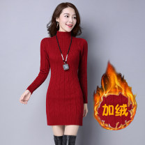 Wool knitwear Winter 2020 One size fits all, XL [115-130 kg], XXL [130-145 kg] Long sleeves singleton  Socket wool 31% (inclusive) - 50% (inclusive) Medium length thickening commute Self cultivation Half height crew neck routine Solid color Korean version 25-29 years old