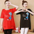 Women's large Spring 2021, summer 2021 T-shirt singleton  commute easy moderate Socket Short sleeve Korean version Crew neck Medium length cotton printing and dyeing routine 25-29 years old Asymmetry 96% and above