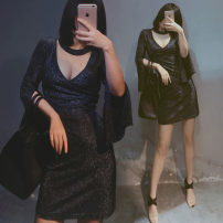 Women's large Summer of 2019 Purple gold, black silver Large XL, large 2XL, large 3XL, large 4XL, large 5XL Dress singleton  commute easy thin Socket Short sleeve Solid color Korean version Medium length Nylon, polyester Three dimensional cutting other Medium length Hollowing out
