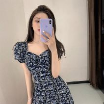 Women's large Summer 2021 Short dress, long dress S,M,L,XL Other oversize styles singleton  commute moderate Short sleeve Broken flowers Korean version V-neck Medium length silk puff sleeve yu230y 25-29 years old 96% and above Medium length other